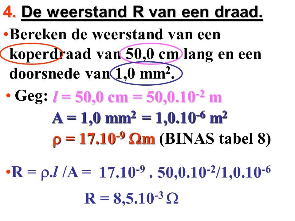 4. De weerstand R van een draad.