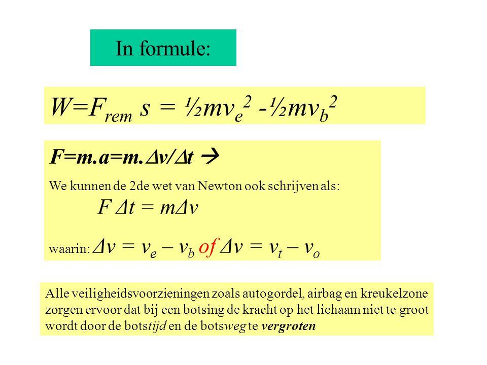 W=Frem s = ½mve2 -½mvb2 In formule: F=m.a=m.v/t  F Δt = mΔv