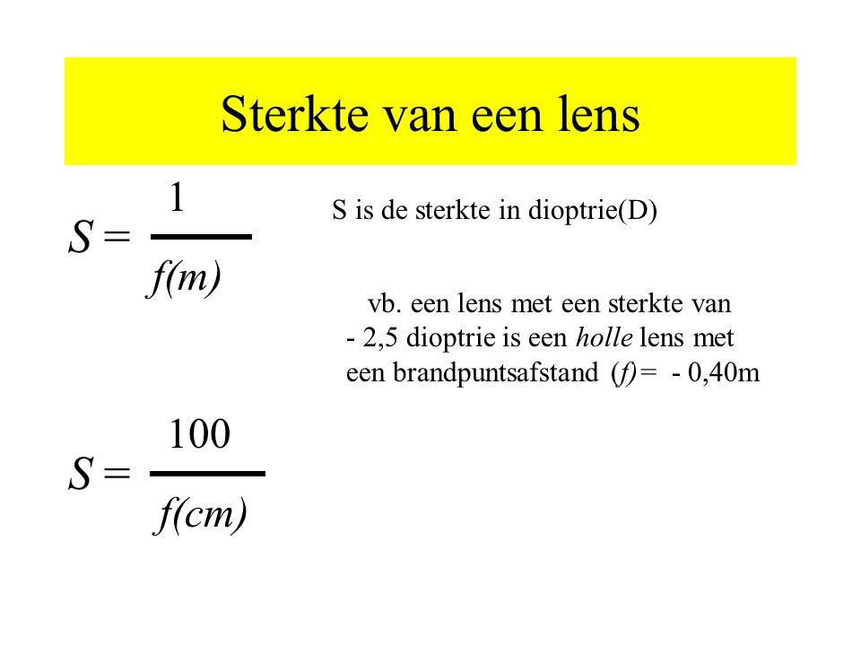 Sterkte van een lens S = S = 1 f(m) 100 f(cm)