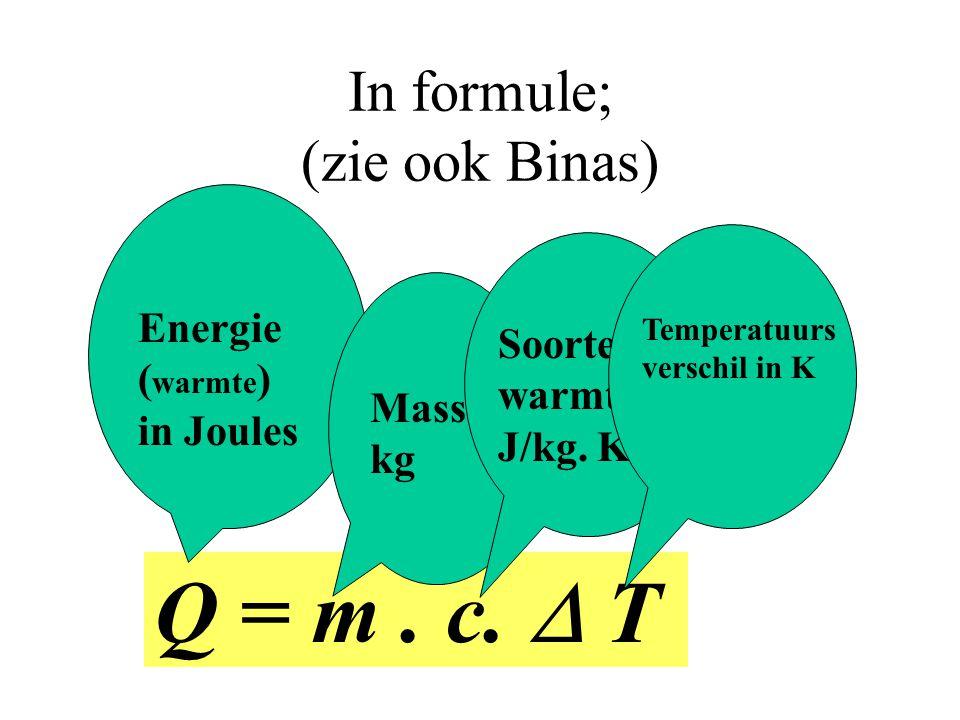 In formule; (zie ook Binas)