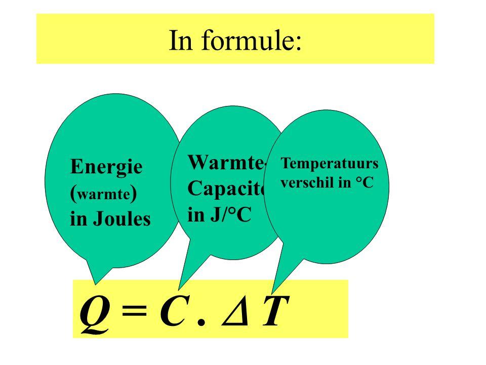 Q = C .  T In formule: Warmte-Capaciteit in J/°C