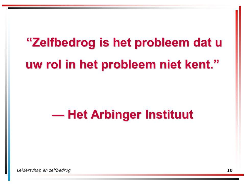 Zelfbedrog is het probleem dat u uw rol in het probleem niet kent.