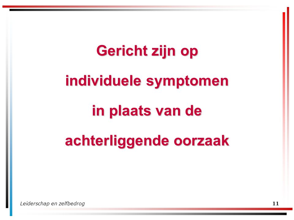 individuele symptomen achterliggende oorzaak