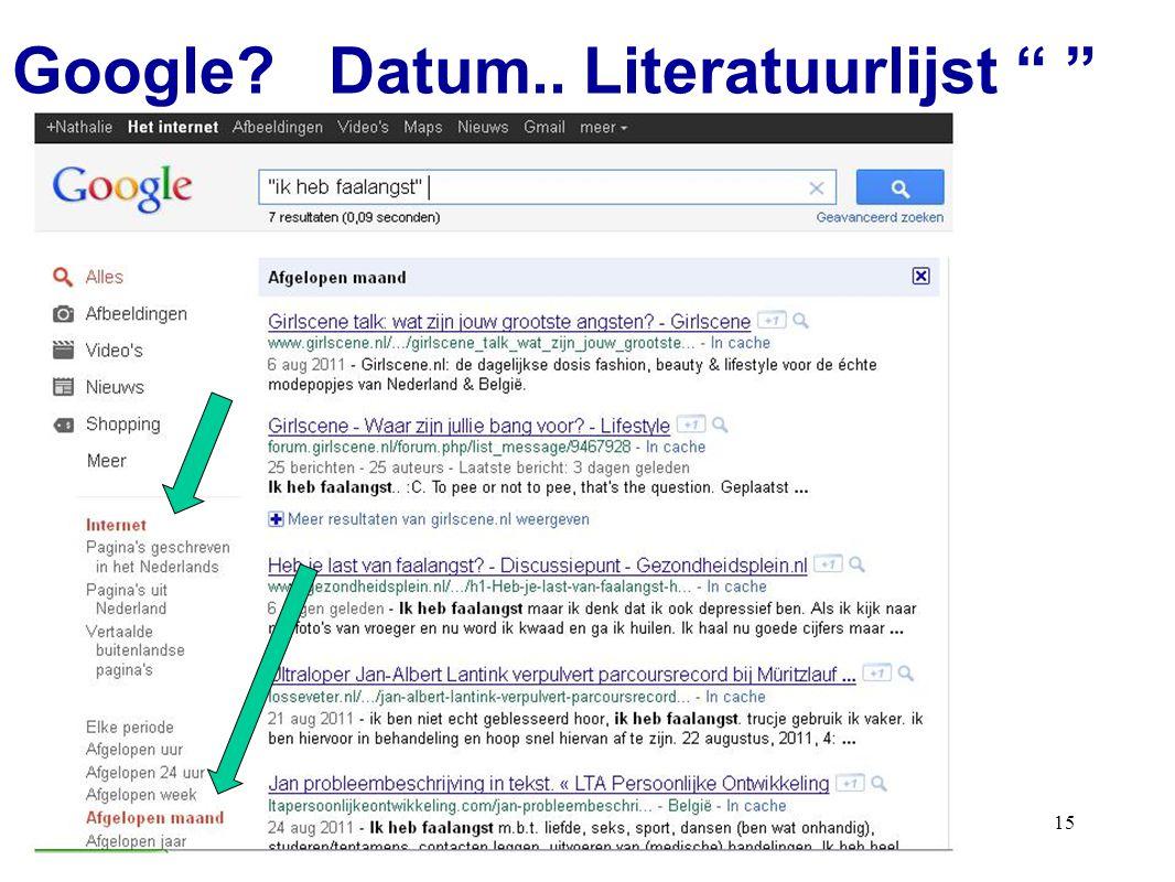 Google Datum.. Literatuurlijst