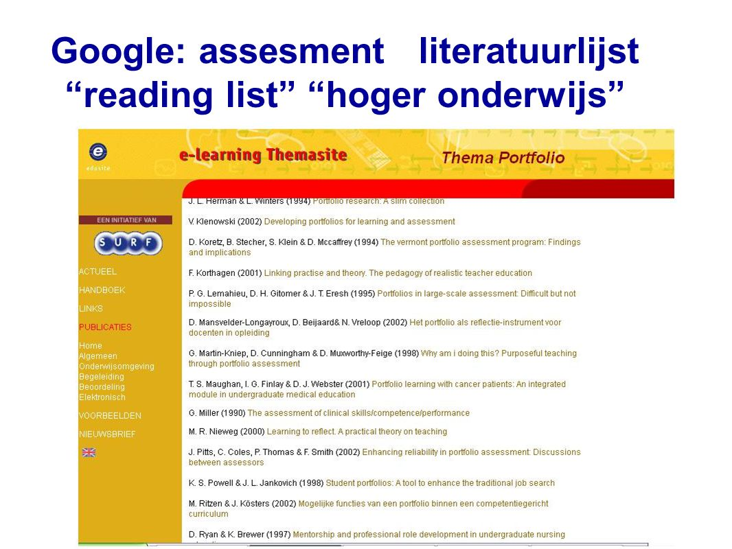 Google: assesment literatuurlijst reading list hoger onderwijs