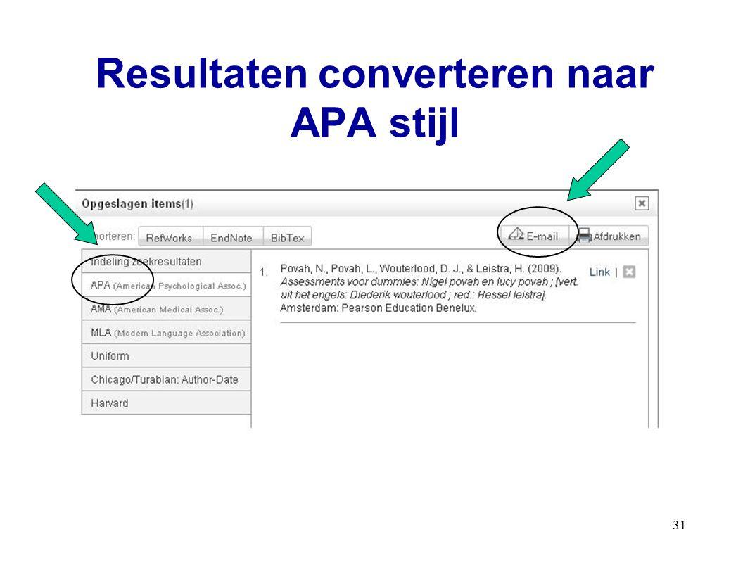 Resultaten converteren naar APA stijl