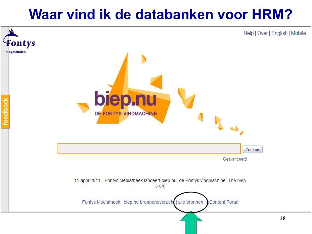 Waar vind ik de databanken voor HRM