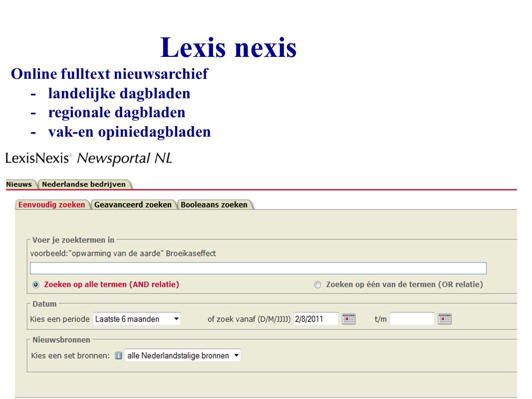 Lexis nexis Online fulltext nieuwsarchief - landelijke dagbladen