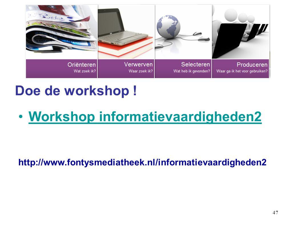 Workshop informatievaardigheden2