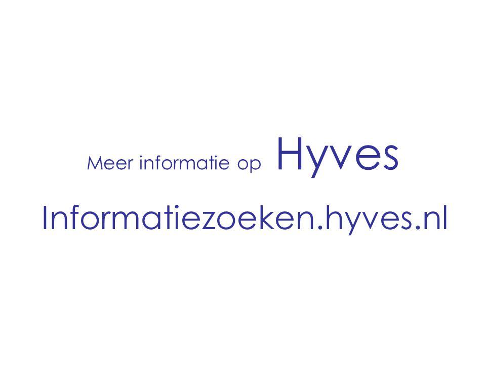 Meer informatie op Hyves