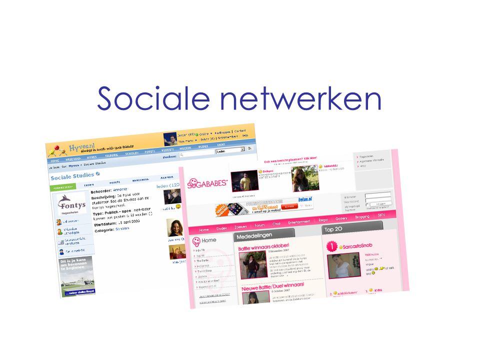 Sociale netwerken Hyves Sociaal netwerk waarop over verschillende onderwerpen gesproken kan worden.