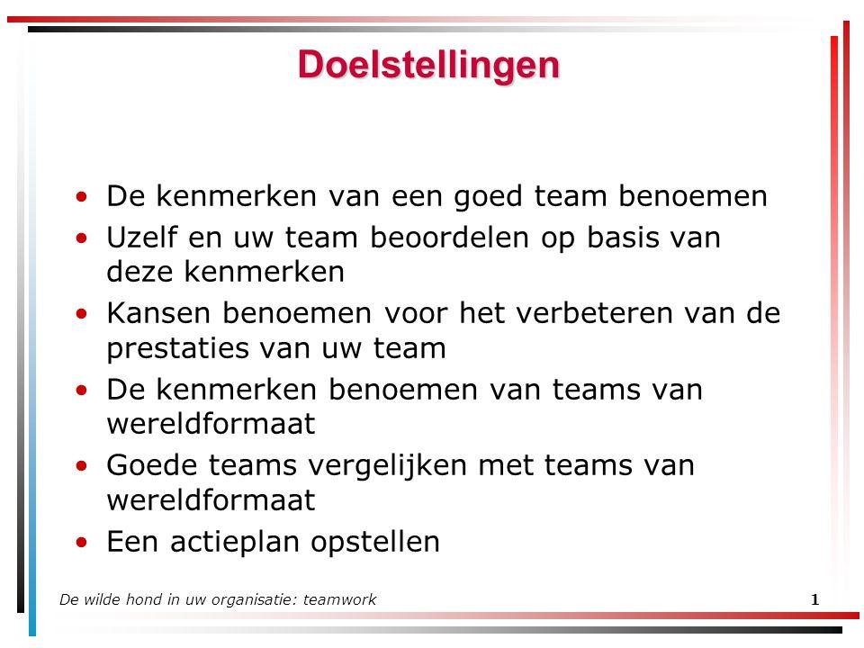 Doelstellingen De kenmerken van een goed team benoemen