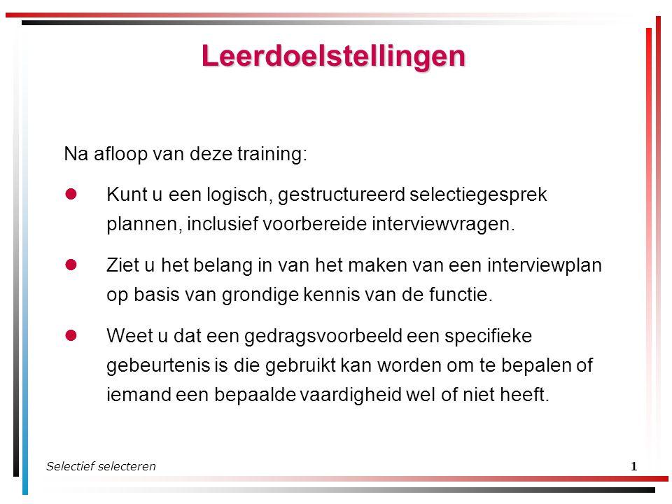 Leerdoelstellingen Na afloop van deze training:
