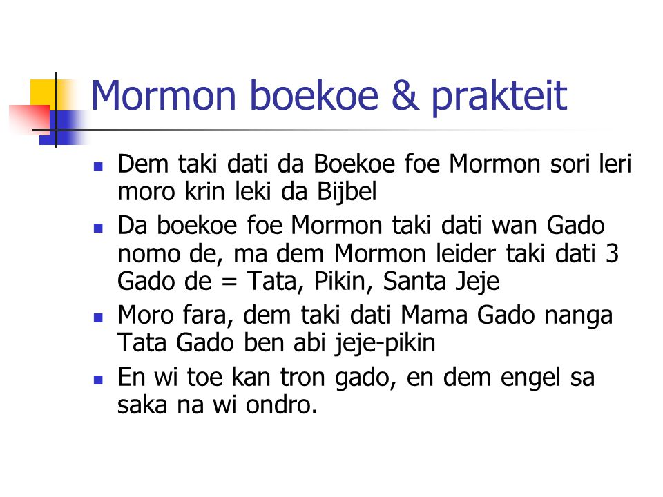 Mormon boekoe & prakteit