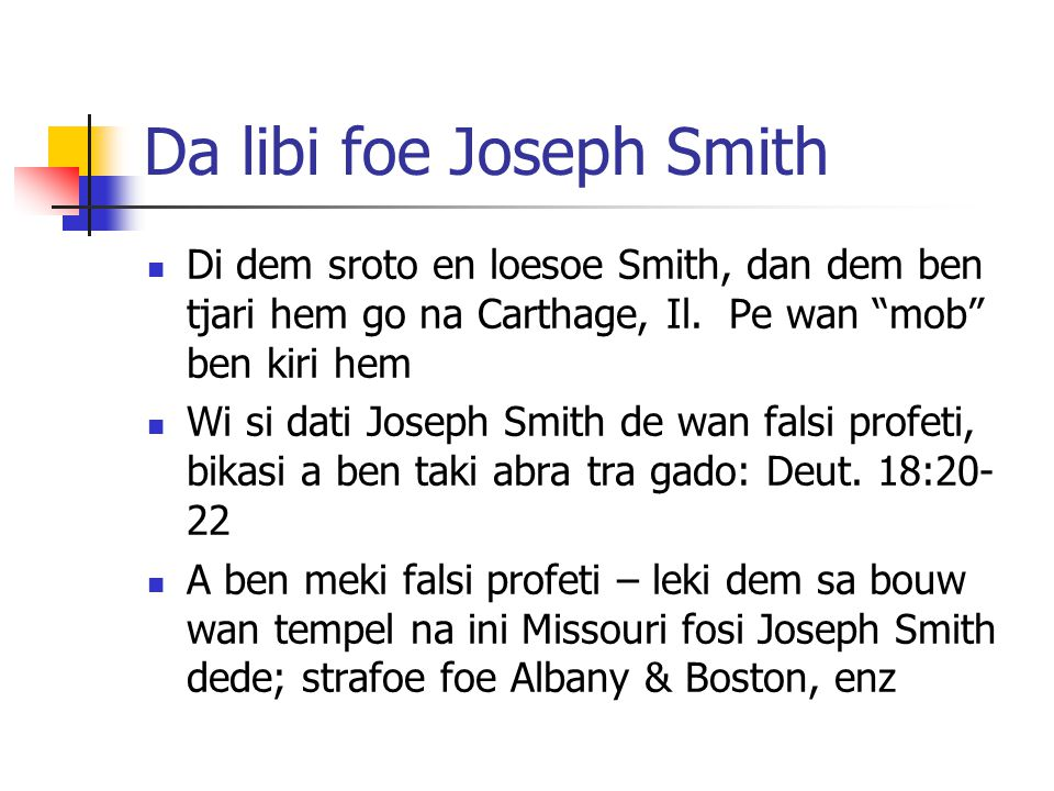 Da libi foe Joseph Smith