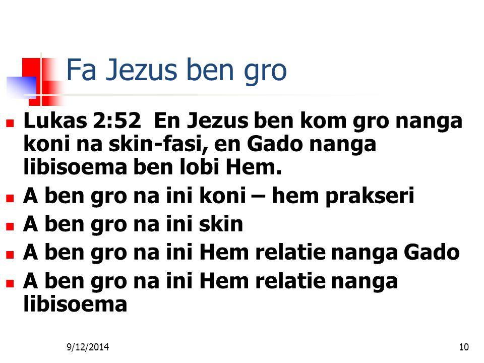 Fa foe Gi Wan Les Fa Jezus ben gro. Lukas 2:52 En Jezus ben kom gro nanga koni na skin-fasi, en Gado nanga libisoema ben lobi Hem.