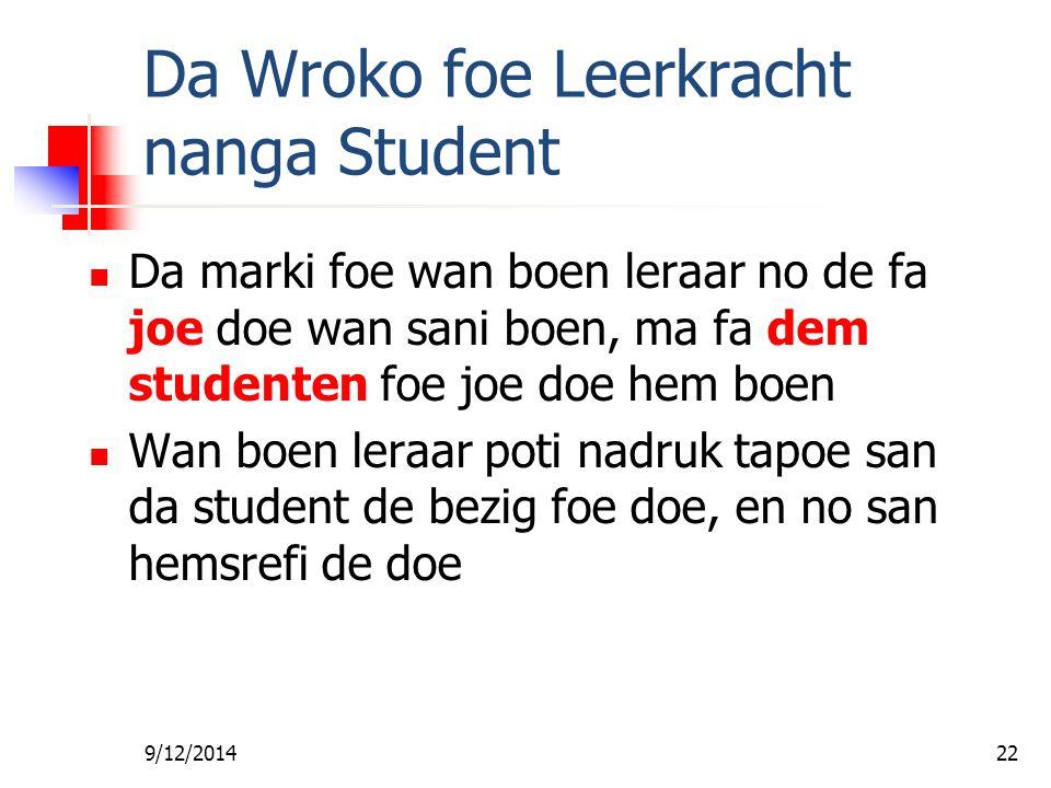 Da Wroko foe Leerkracht nanga Student