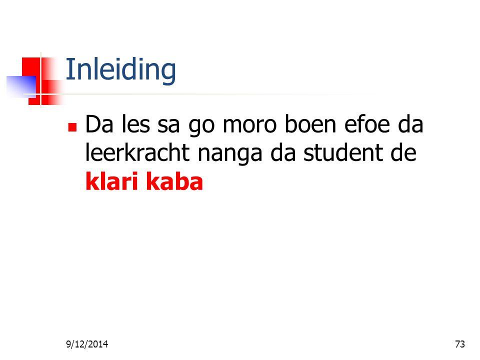 Fa foe Gi Wan Les Inleiding. Da les sa go moro boen efoe da leerkracht nanga da student de klari kaba.