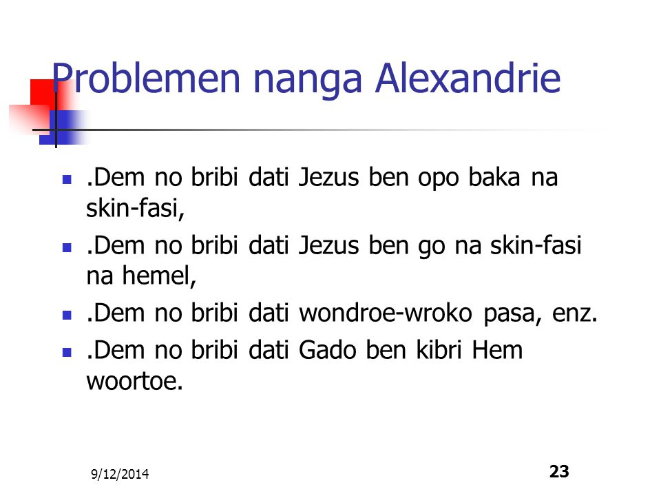 Problemen nanga Alexandrie
