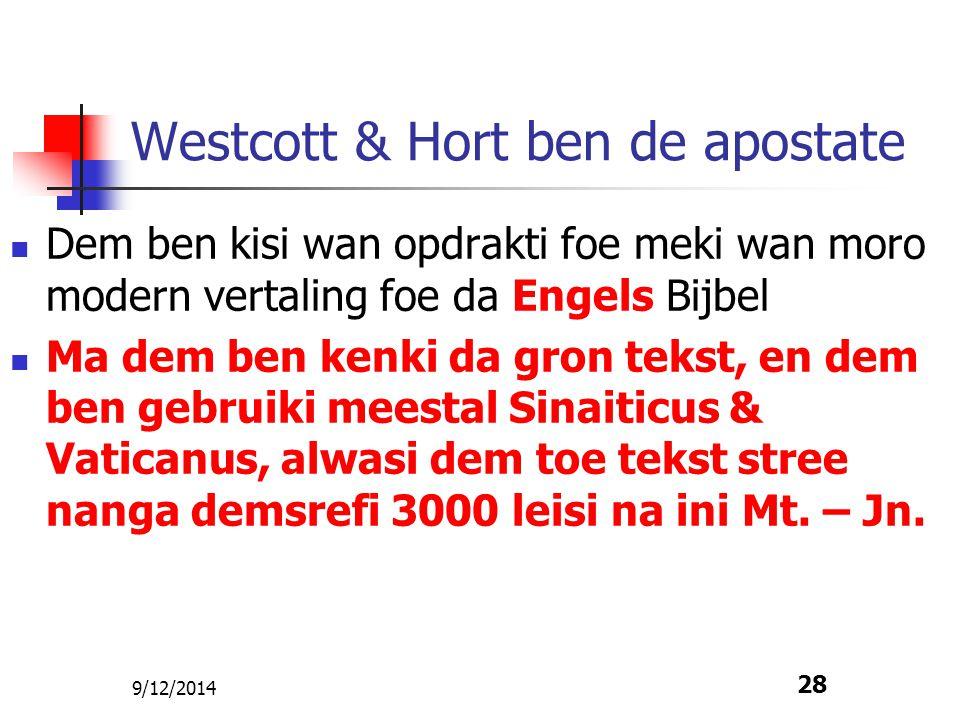 Westcott & Hort ben de apostate