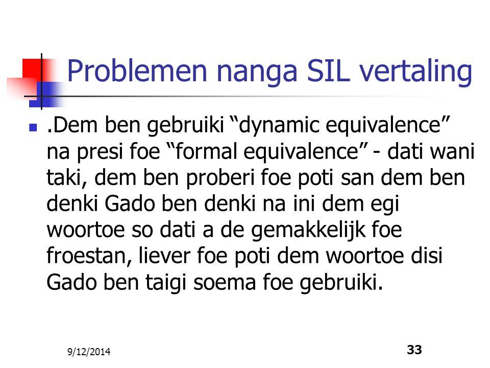 Problemen nanga SIL vertaling
