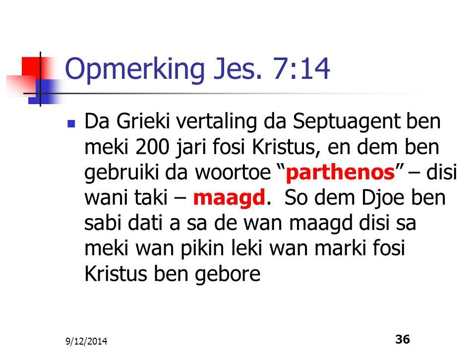 Opmerking Jes. 7:14