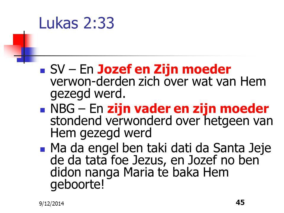 Lukas 2:33 SV – En Jozef en Zijn moeder verwon-derden zich over wat van Hem gezegd werd.