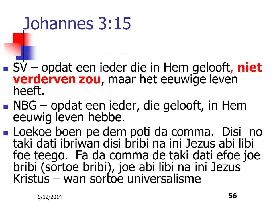 Johannes 3:15 SV – opdat een ieder die in Hem gelooft, niet verderven zou, maar het eeuwige leven heeft.