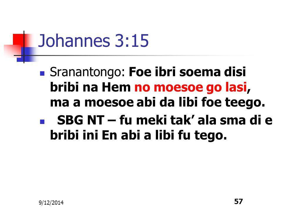 Johannes 3:15 Sranantongo: Foe ibri soema disi bribi na Hem no moesoe go lasi, ma a moesoe abi da libi foe teego.