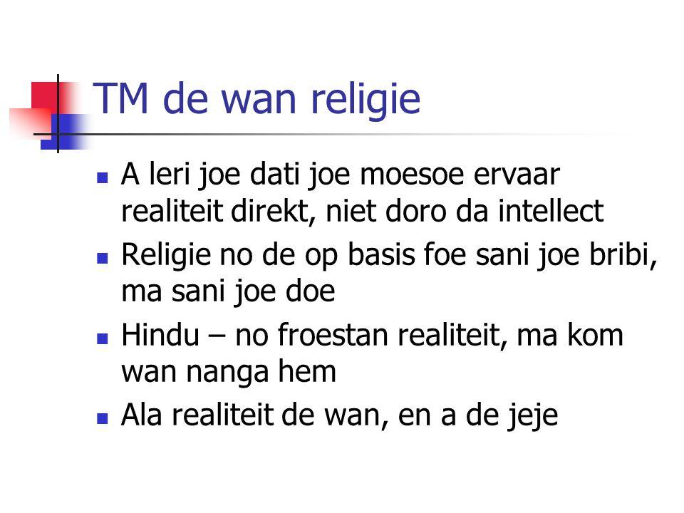 TM de wan religie A leri joe dati joe moesoe ervaar realiteit direkt, niet doro da intellect.