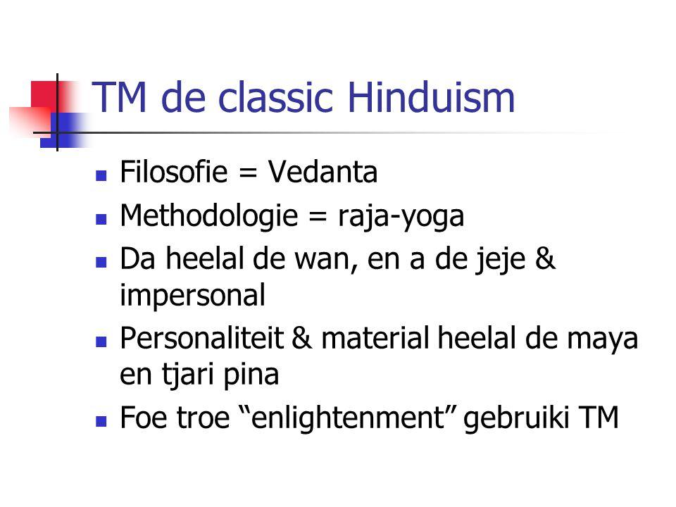 TM de classic Hinduism Filosofie = Vedanta Methodologie = raja-yoga
