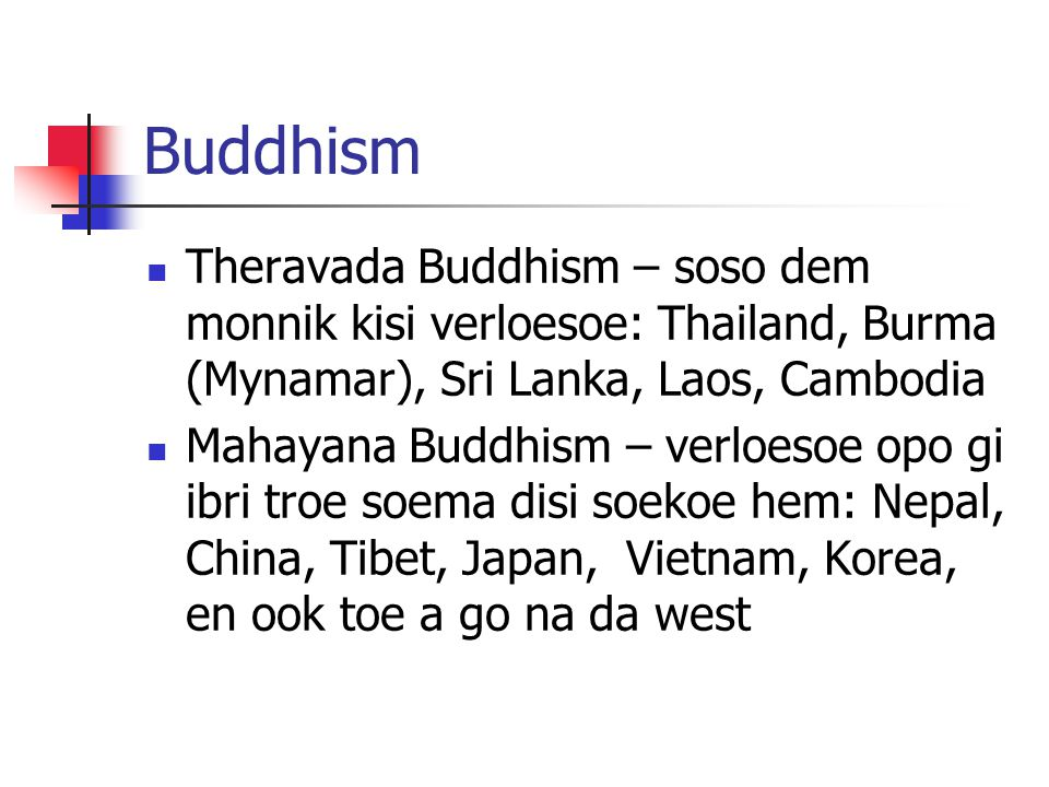 Buddhism Theravada Buddhism – soso dem monnik kisi verloesoe: Thailand, Burma (Mynamar), Sri Lanka, Laos, Cambodia.