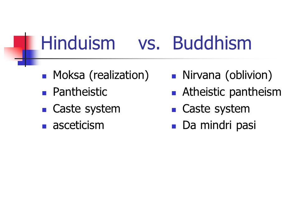 Hinduism vs. Buddhism Moksa (realization) Pantheistic Caste system