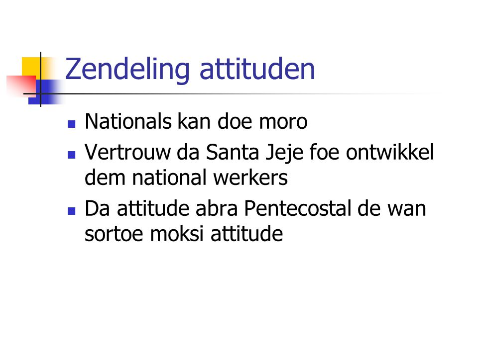 Zendeling attituden Nationals kan doe moro