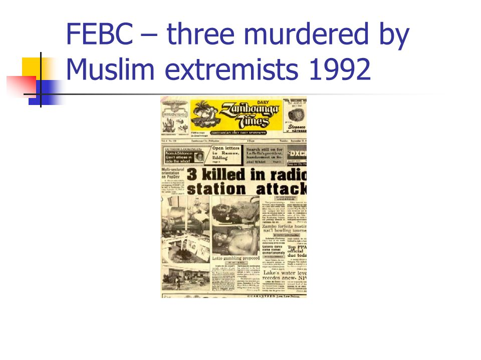 FEBC – three murdered by Muslim extremists 1992