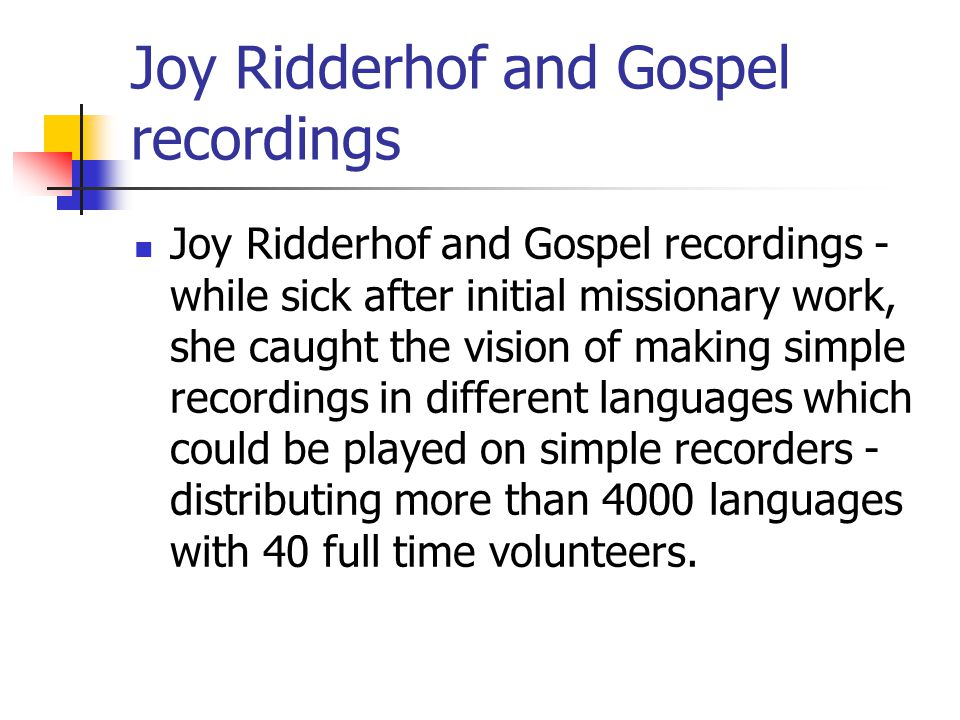 Joy Ridderhof and Gospel recordings