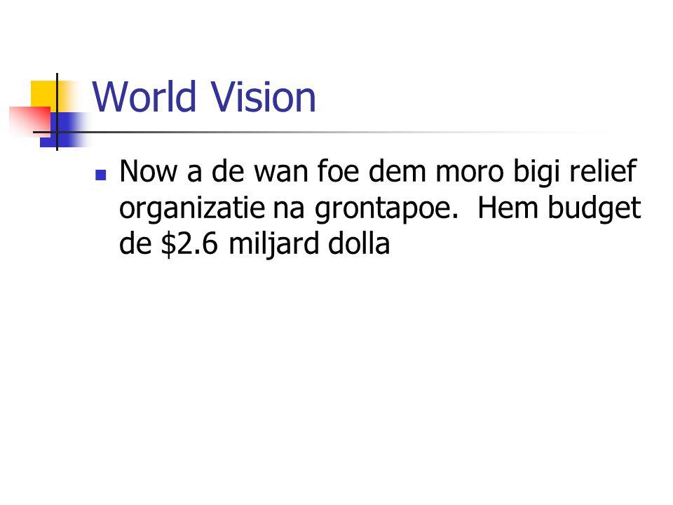World Vision Now a de wan foe dem moro bigi relief organizatie na grontapoe.