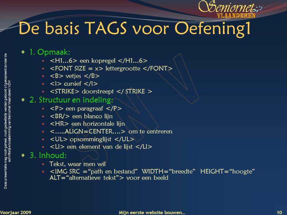 De basis TAGS voor Oefening1