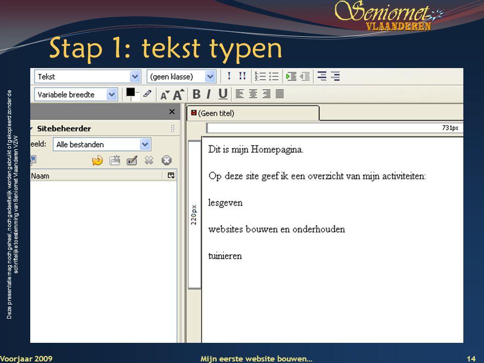 Stap 1: tekst typen Voorjaar 2009 Mijn eerste website bouwen…