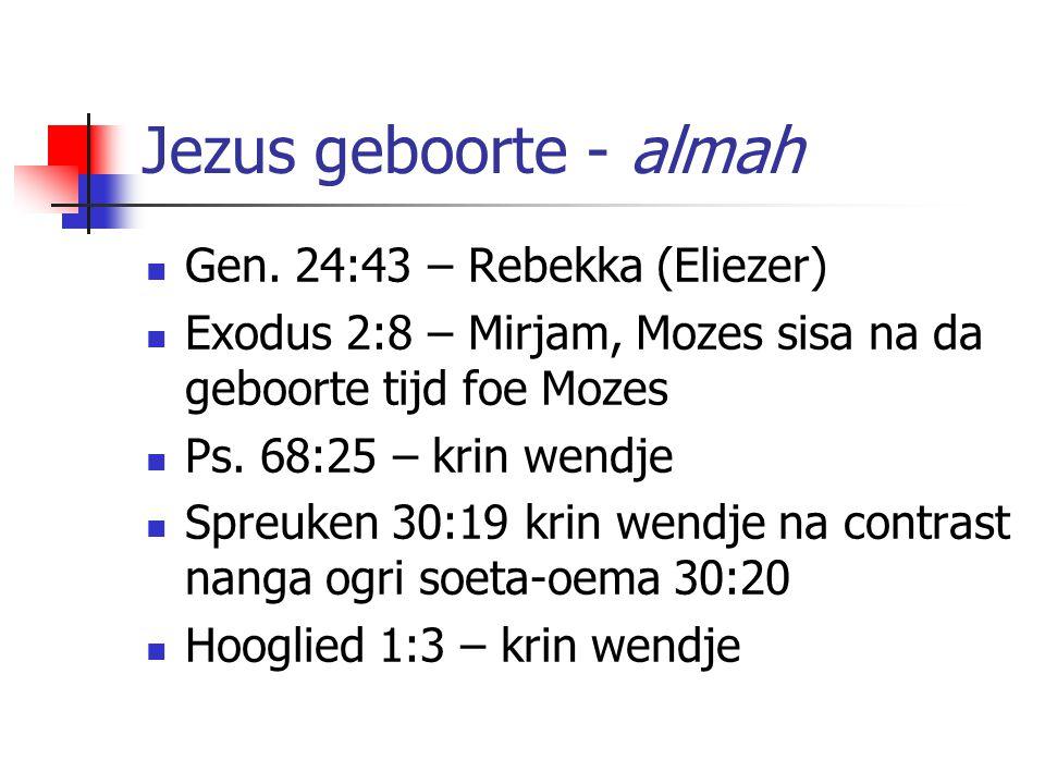 Jezus geboorte - almah Gen. 24:43 – Rebekka (Eliezer)