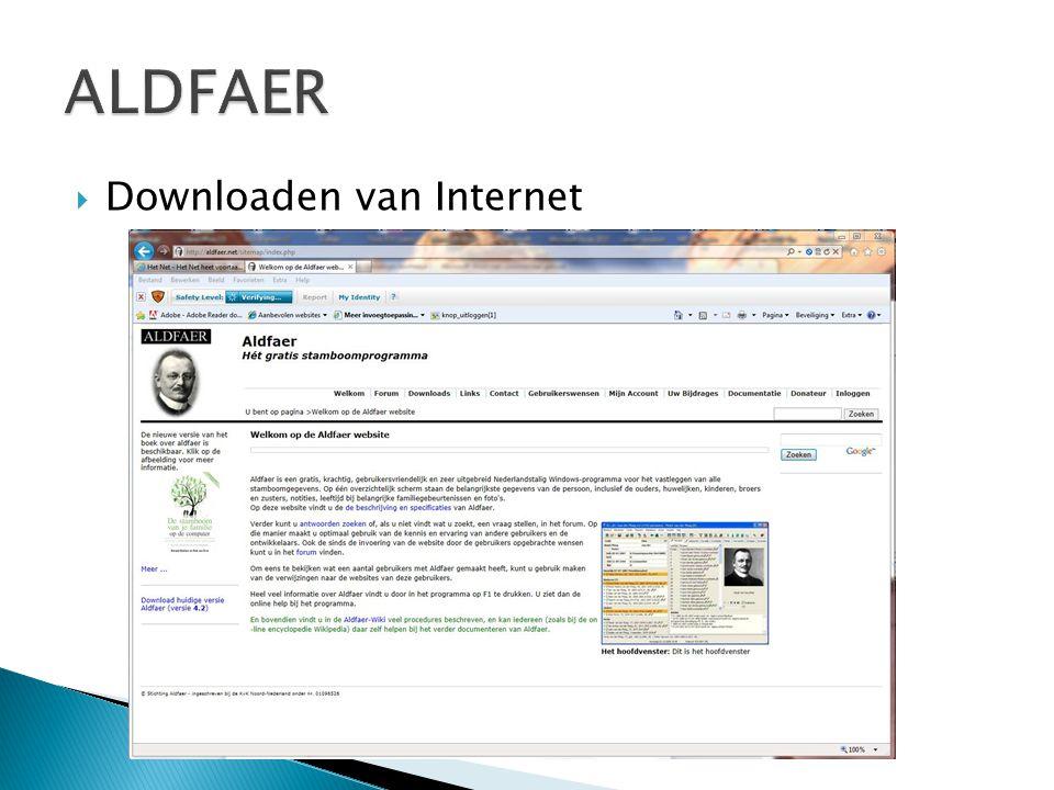 ALDFAER Downloaden van Internet