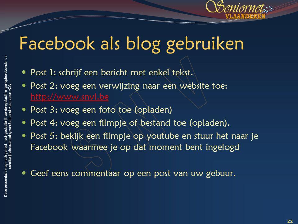 Facebook als blog gebruiken