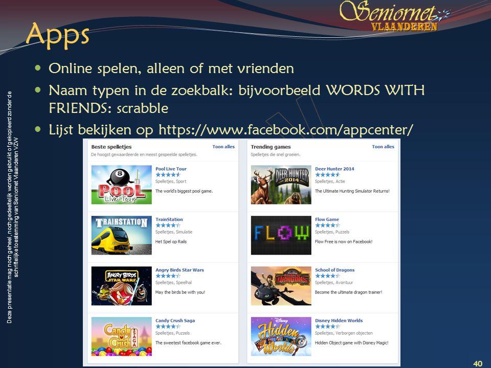 Apps Online spelen, alleen of met vrienden