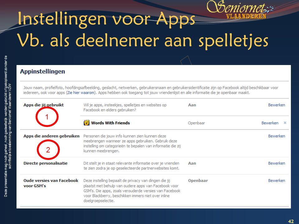 Instellingen voor Apps Vb. als deelnemer aan spelletjes