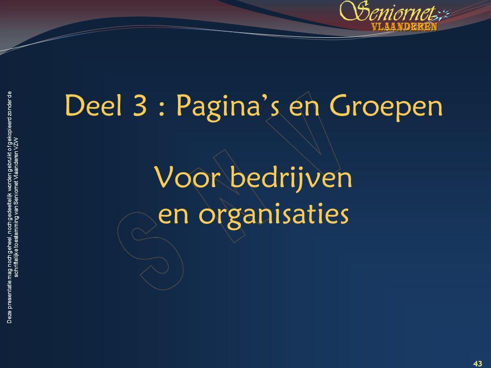 Deel 3 : Pagina's en Groepen Voor bedrijven en organisaties