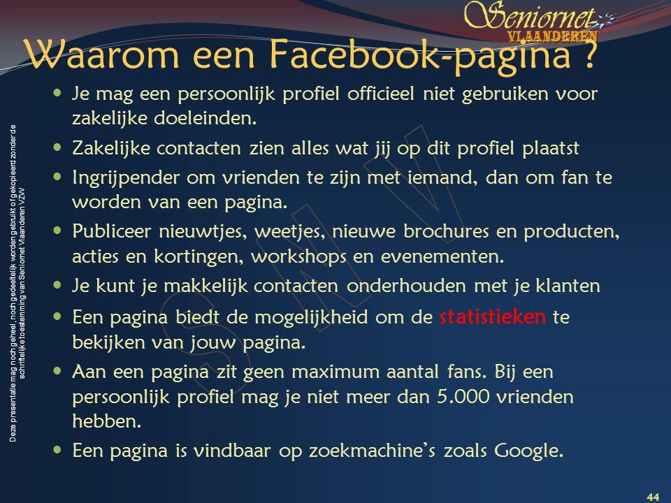 Waarom een Facebook-pagina