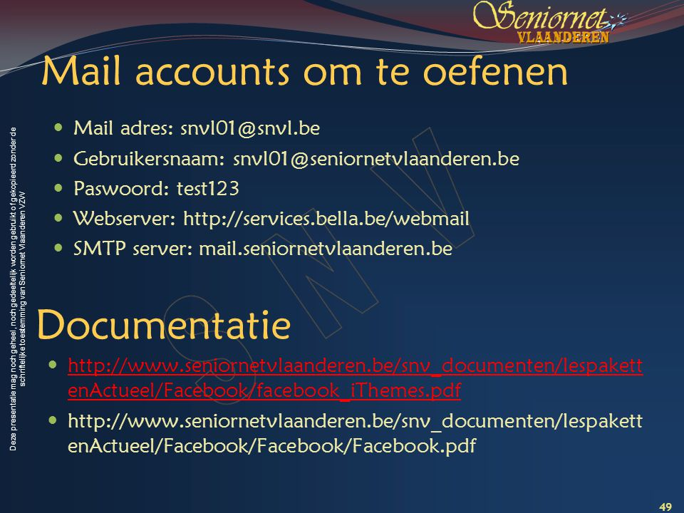 Mail accounts om te oefenen