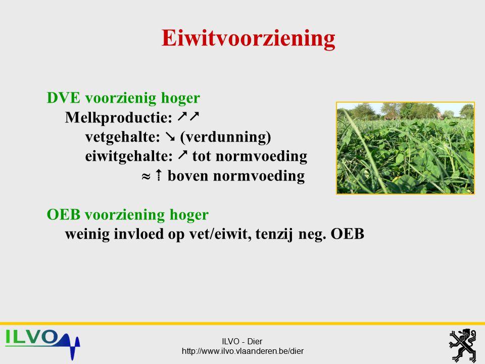 Eiwitvoorziening DVE voorzienig hoger Melkproductie:  vetgehalte:  (verdunning) eiwitgehalte:  tot normvoeding.