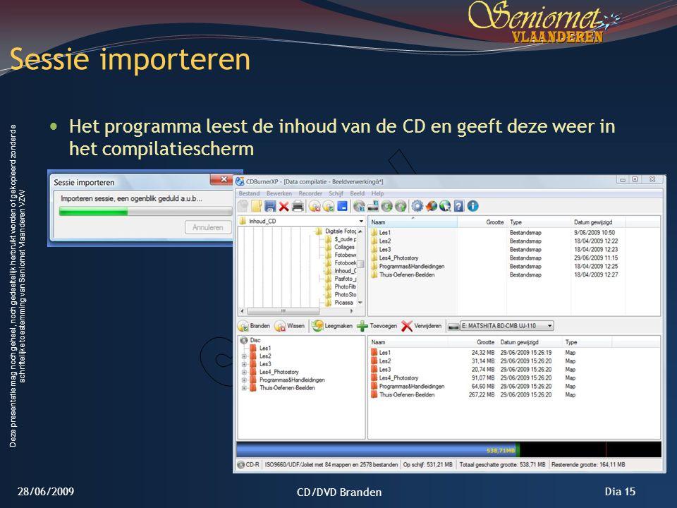 Sessie importeren Het programma leest de inhoud van de CD en geeft deze weer in het compilatiescherm.