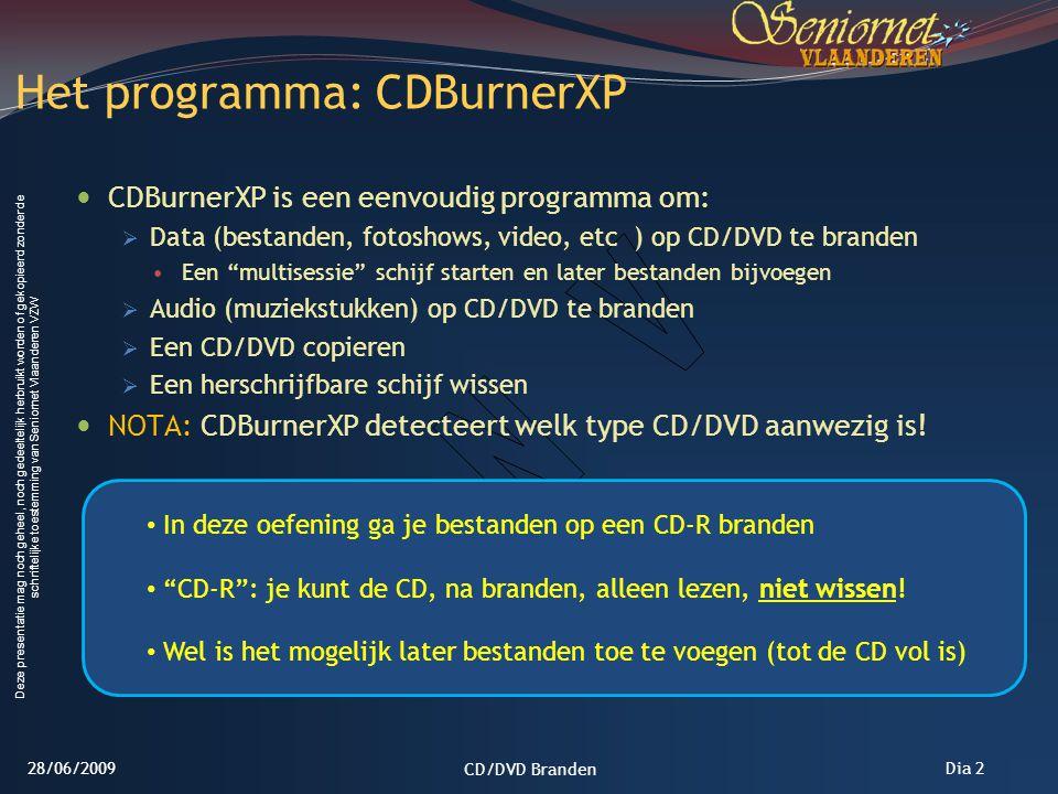 Het programma: CDBurnerXP